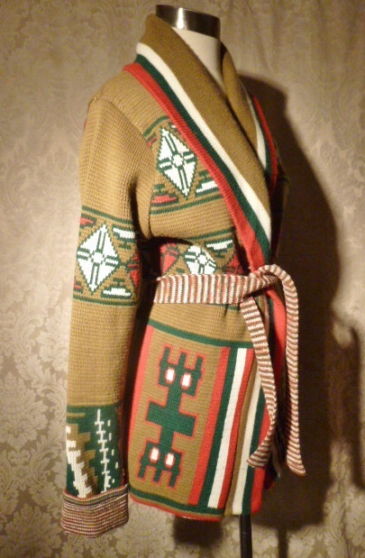 1970s vintage Christopher Rand ethnic Aztec shawl collar belted wrap sweater (2)