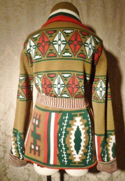 1970s vintage Christopher Rand ethnic Aztec shawl collar belted wrap sweater (3)