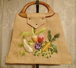 Vintage 1960s Mister Ernest Simon straw beach market bag  tutti frutti design (1)