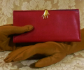 Vintage 1960s 70s surrealist hand clasp red leather wallet made in florence italy  (7)