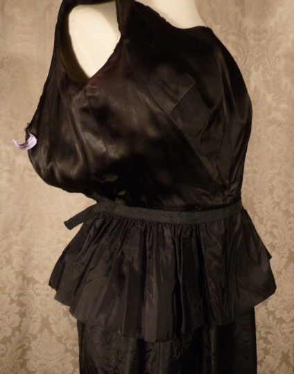 1960s Vintage Ben Barrack black flocked velvet gown (1)