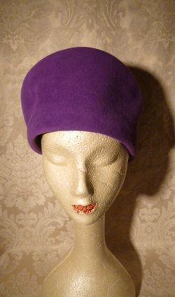 Eric Javits Vintage 80s 90s purple wool felt cossack shako hat black tassle trim (1)