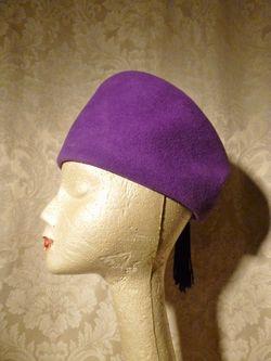 Eric Javits Vintage 80s 90s purple wool felt cossack shako hat black tassle trim (6)