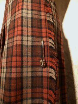 Vintage Michael Stevens orange brown pleated plaid wool wrap skirt (3)