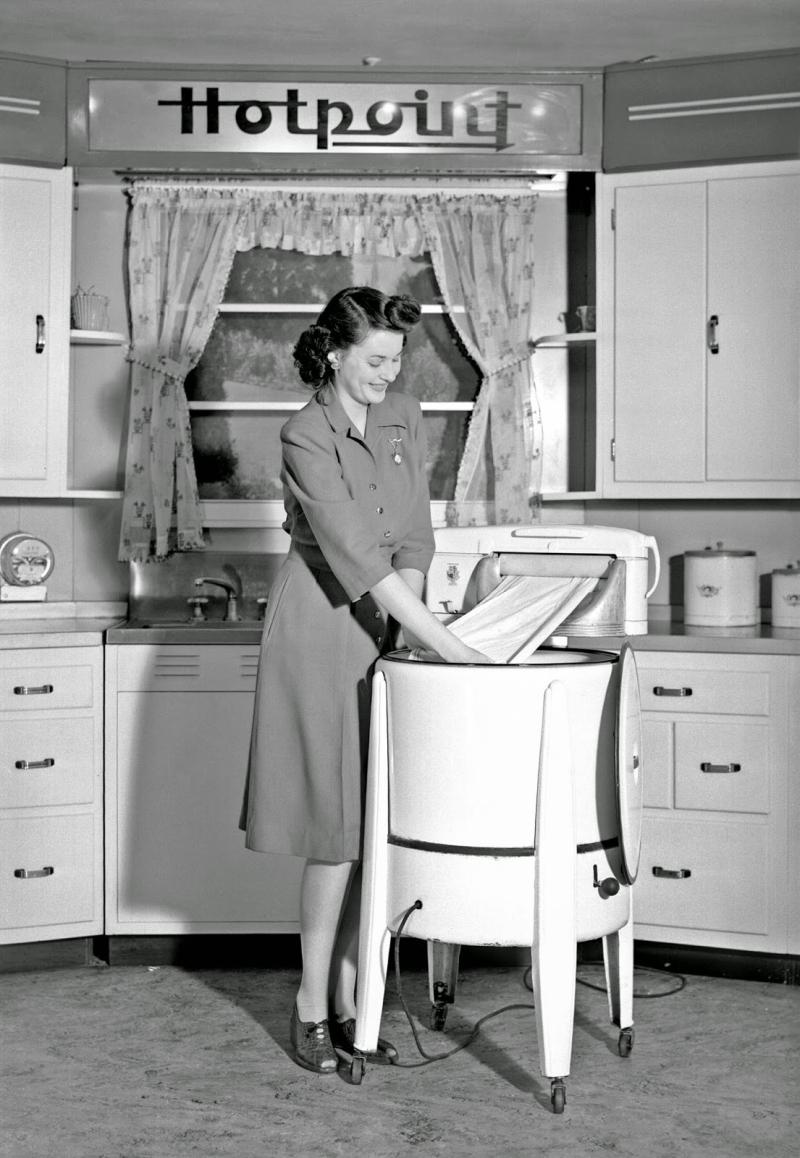 Vintage housewife laundry washing