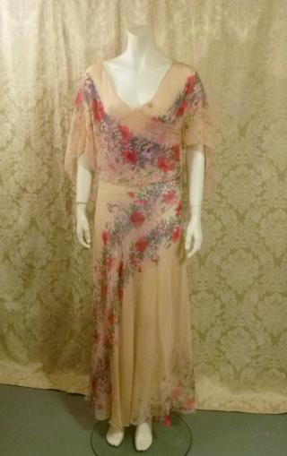 1930s Crepe Chiffon Floral Tea Gown Vintage Dress (1)
