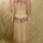 1930s Crepe Chiffon Floral Tea Gown Vintage Dress (4)