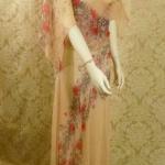 1930s Crepe Chiffon Floral Tea Gown Vintage Dress (3)