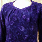 1950s Alix of Miami purple floral fitted bombshell wiggle  dress  (6)