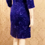 1950s Alix of Miami purple floral fitted bombshell wiggle  dress  (2)