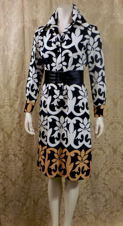 1970s vintage Lanvin Paris Op Art Geometric Shirt Dress Black White Tan Art Nouveau (7)
