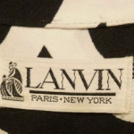 Vintage Lanvin Paris New York 1970s Label