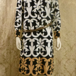 1970s vintage Lanvin Paris Op Art Geometric Shirt Dress Black White Tan Art Nouveau  (6)