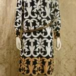 1970s vintage Lanvin Paris Op Art Geometric Shirt Dress Black White Tan Art Nouveau  (6)