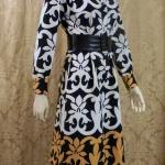 1970s vintage Lanvin Paris Op Art Geometric Shirt Dress Black White Tan Art Nouveau (5)