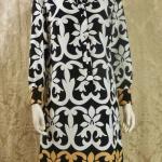 1970s vintage Lanvin Paris Op Art Geometric Shirt Dress Black White Tan Art Nouveau  (3)