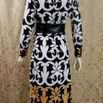 1970s vintage Lanvin Paris Op Art Geometric Shirt Dress Black White Tan Art Nouveau (1)