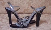 Charles Jourdan Paris Silver & Black Strappy Sandals