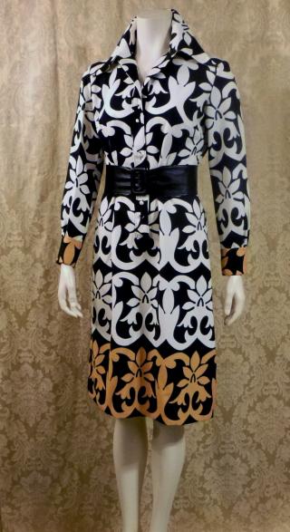 1970s vintage Lanvin Paris Op Art Geometric Shirt Dress Black White Tan Art Nouveau (7)