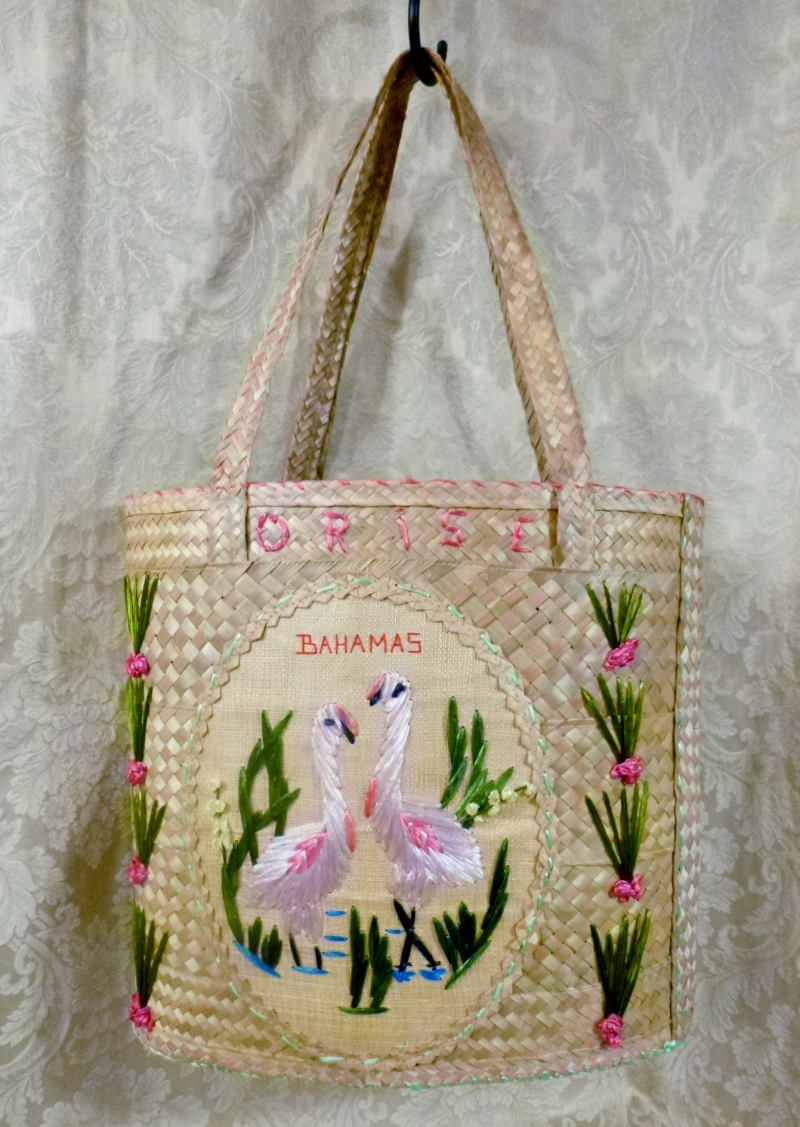 Vintage 1950s 1960s Bahamas woven embroidered pink pelicans straw souvenir bag (4)