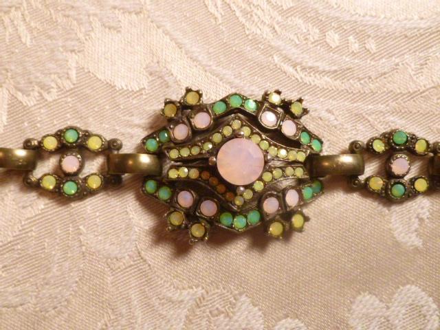 Vintage Banana Bob Art Deco Style Pink Green & Gold Opal Swarovski Crystal Bracelet   (5)