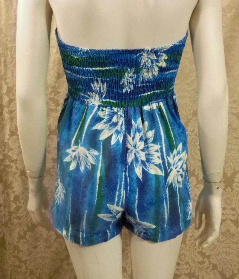 1950's Vintage Tropical Halter Sun  Swim  Play Suit  Romper  (3)