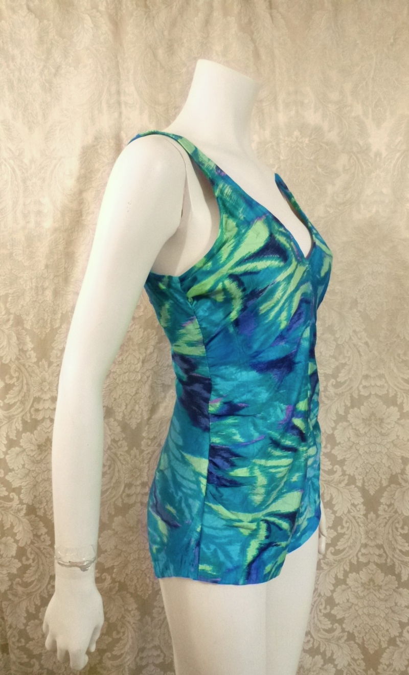 1960's Vintage Rose Marie Reid Watercolor Print One Piece Swimsuit  (3)