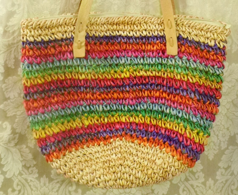 1980's Vintage Rainbow Striped Woven Sisal Straw Tote  Market  Beach Bag (4)