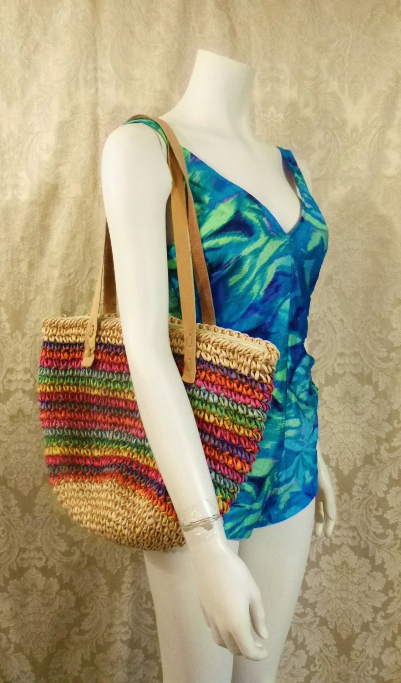 1980's Vintage Rainbow Striped Woven Sisal Straw Tote  Market  Beach Bag (1)