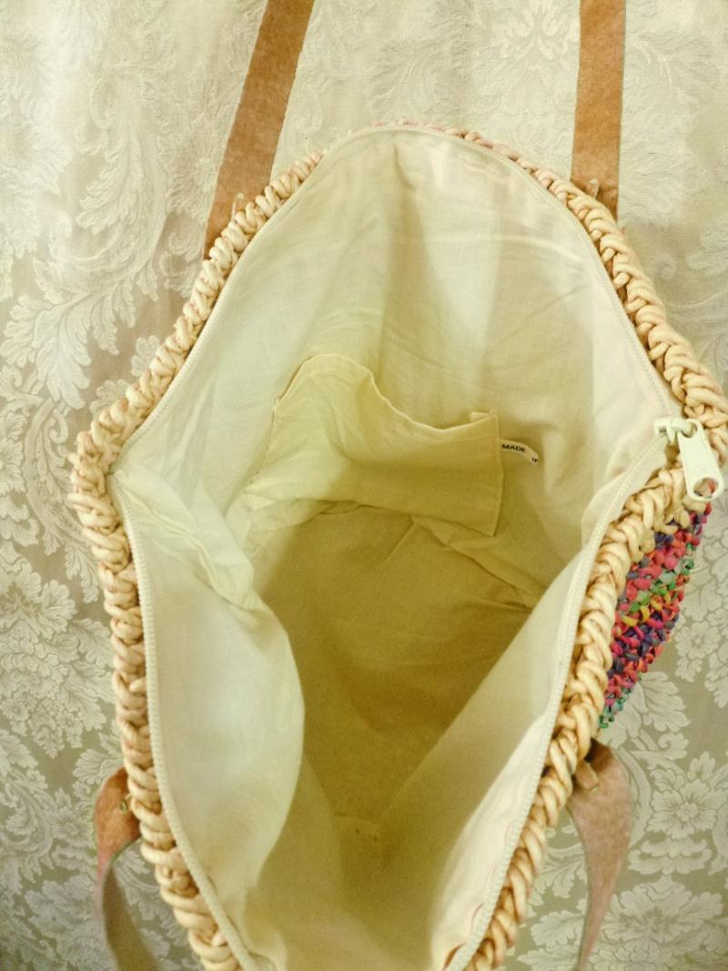 1980's Vintage Rainbow Striped Woven Sisal Straw Tote  Market  Beach Bag (3)
