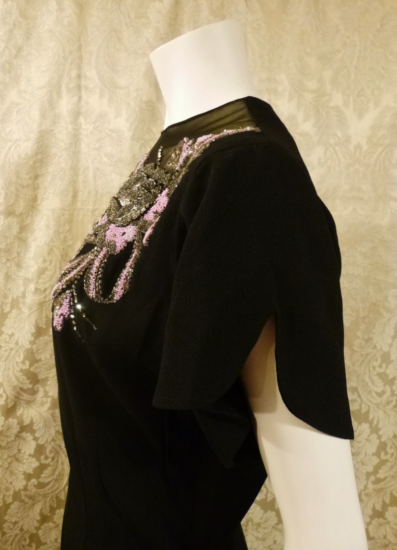 1930's Vintage Frenchshire Montreal Black Crepe Sheer Beaded Neckline Evening Gown (2)