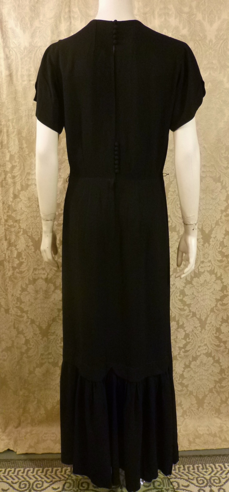 1930's Vintage Frenchshire Montreal Black Crepe Sheer Beaded Neckline Evening Gown (3)