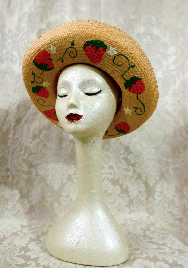 1950s vintage straw hat hand painted decorated strawberries daisies wide brim polka dot ribbon red white  (4)
