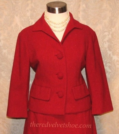 Sybill Connolly 1960s Vintage Couture Red Wool Suit  (5)