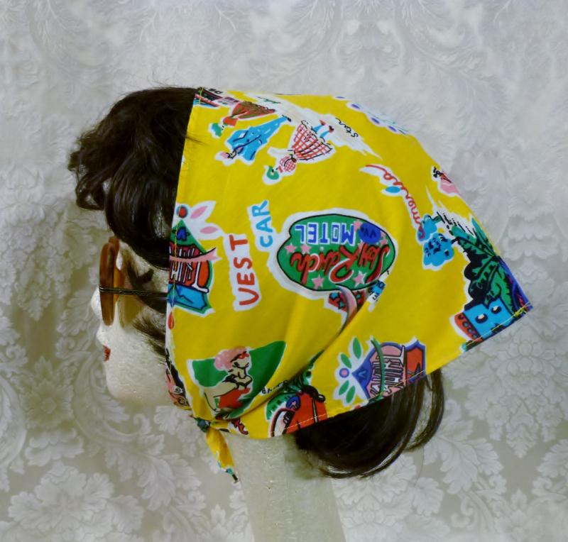 Vintage retro Jantzen novelty road trip travel las vegas palm springs kerchief head scarf  (1)