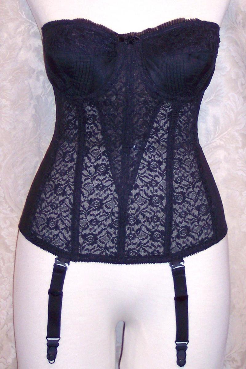1950S vintage Formaid black lace long line corset bustier shapewear (3)