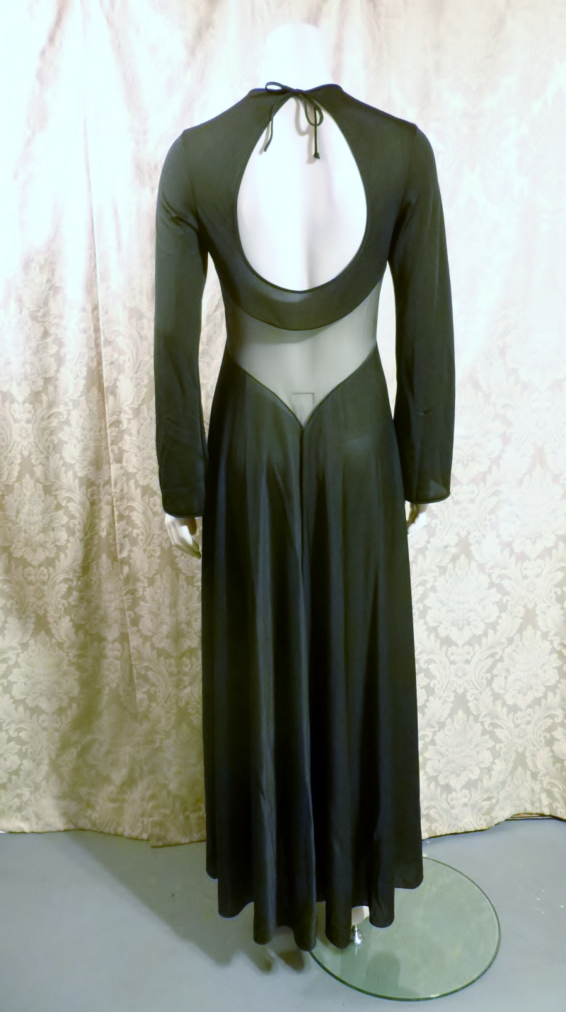 1970s vintage ralph montenero plunge front keyhole back sheer black negligee  (10)
