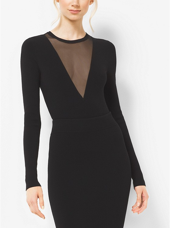 Michael kors sheer v-neck bodysuit
