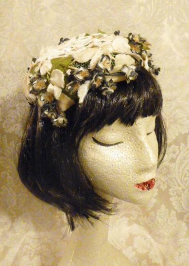 Vintage ivory velvet floral casque hat topper wedding bride  (3)