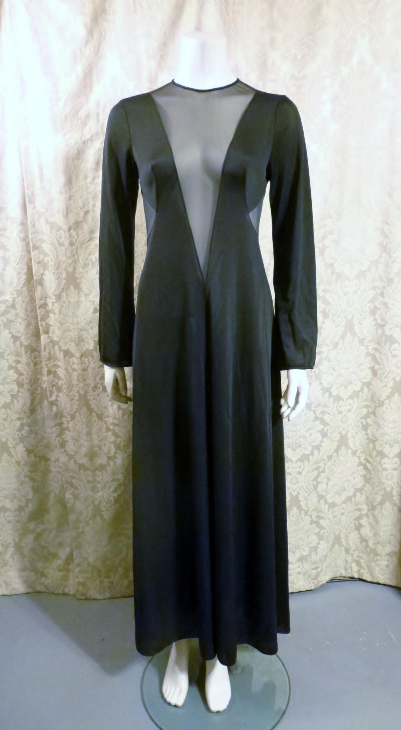 1970s vintage ralph montenero plunge front keyhole back sheer black negligee  (2)