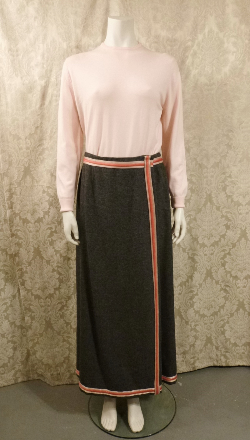 Vintage 1970s Agile Florence Walsh slate grey wool maxi wrap skirt red pink ribbon stripe trim (2)