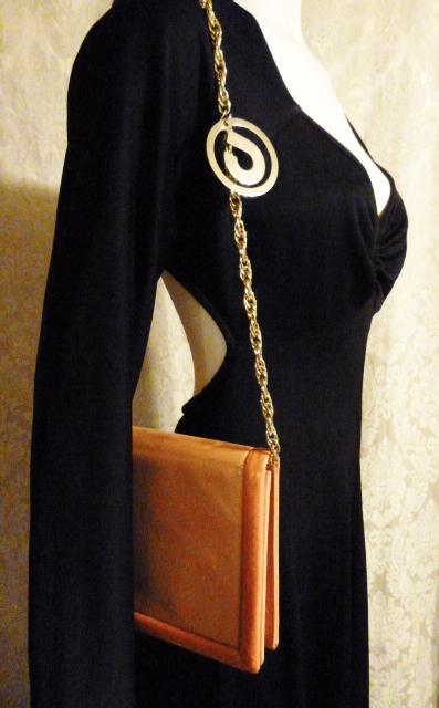 Vintage Charles Jourdan Paris Tangerine Orange Peach Chain Link Shoulder Bag with Snakeskin Trim (16)