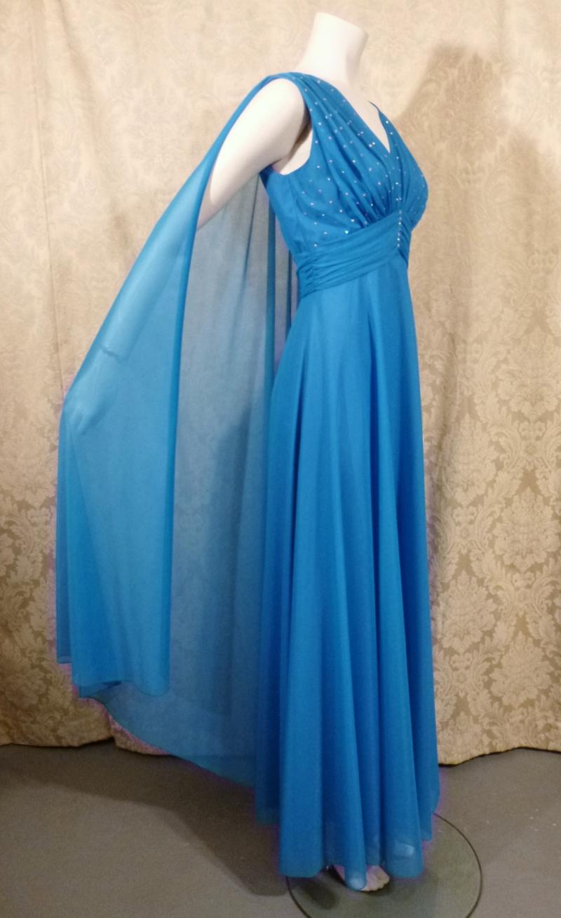 Vintage Mike Benet Formals 1960s 1970s aqua turquoise blue chiffon goddess gown cape overlay rhinestone beaded bodice  (10)