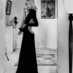 Mireille Darc backless black dress 1972 film