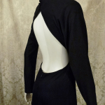 Vintage 1970s Mr. Boots Limited Edition plunging back backless black dress gown mireille darc style (5)