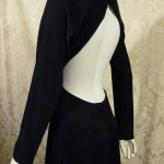 Vintage 1970s Mr. Boots Limited Edition plunging back backless black dress gown mireille darc style (1)