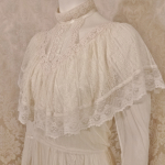 Vintage 1970's Gunne Sax by Jessica McClintock High Neck Ivory Lace Victorian Style Lawn Party Wedding Dress (8)