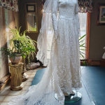 Rare 1940's Bridal Ensemble Ivory Lace Wedding Dress Cathedral Train  Matching Lace Headpiece  Ivory Satin Shoes  (45)