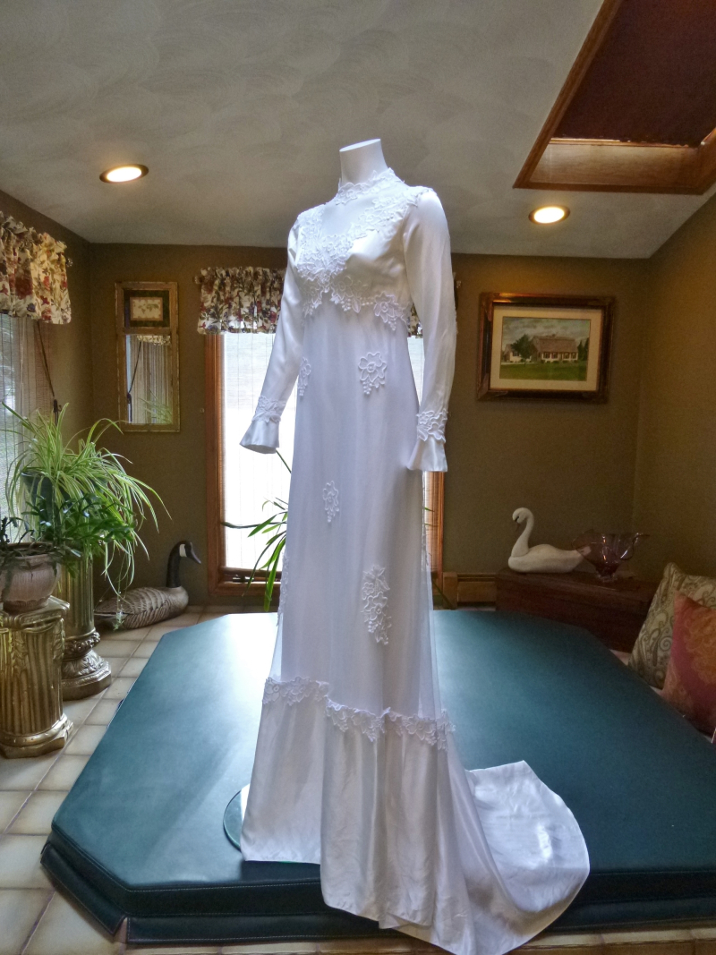 1970s vintage high neck long sleeve empire waist wedding dress gown (14)