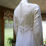 1970s vintage high neck long sleeve empire waist wedding dress gown (17)